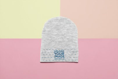 Flat Lay Mockup of a Heather Beanie over a Multicolor Background 24773