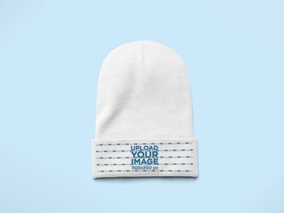 Flat Lay Mockup of a Knit Beanie on a Solid Surface 24567