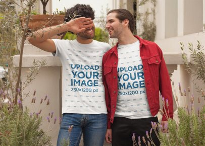 T-Shirt Mockup of a Loving LGBT Couple on Valentine's Day 25409