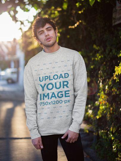Heathered Sweatshirt Mockup of a Man on the Street 18184