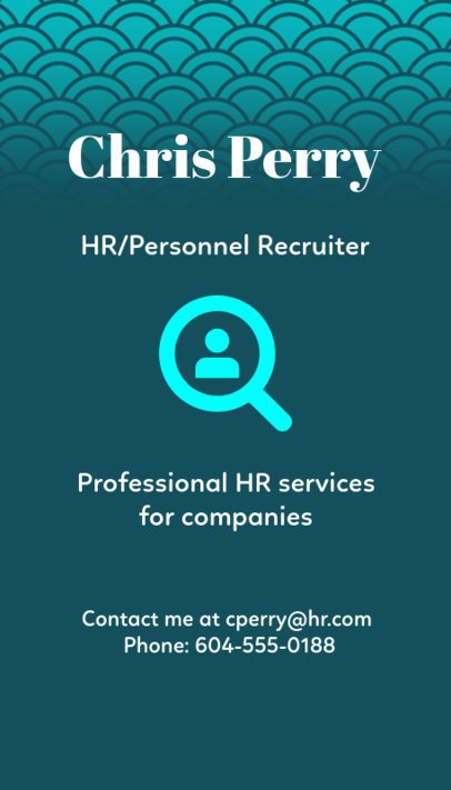 Personnel Recruiter Business Card Template 672a