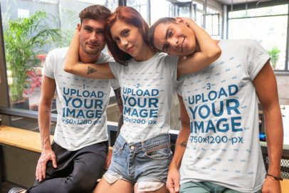 T-Shirt Mockup of Three Best Friends Hanging Out 25246