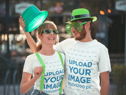 Tshirt Mockup of Two Friends in Saint Patrick's Day 19562