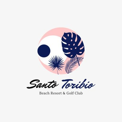 Beach Club Logo Maker Featuring Palm Tree Leaves Clipart 1762e