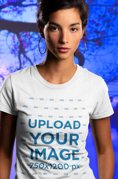 T-Shirt Mockup Featuring a Serious Young Woman 18572
