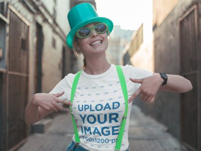 St. Patrick's Day Mockup of a Woman Showing of Her Tee 19565