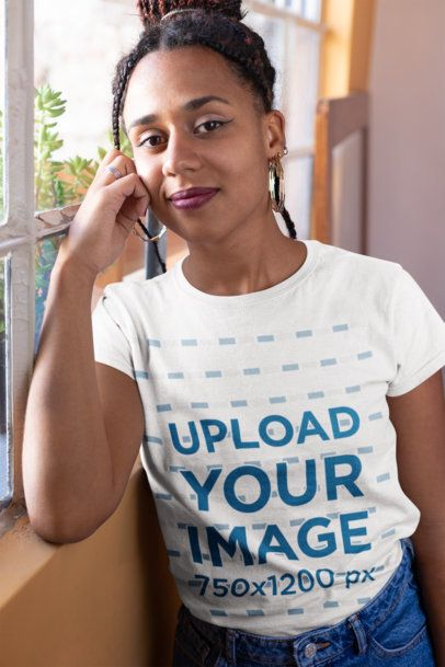 Mockup of a Woman with Locs Wearing a T-Shirt 24093