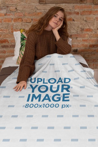 Blanket Mockup Featuring a Relaxed Girl on Her Bed 24675