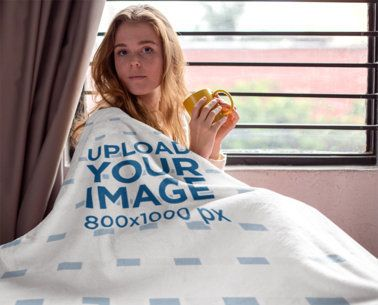 Mockup of a Woman Covered by Her Blanket 24679