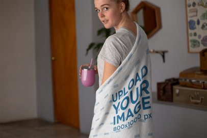 Mockup of a Woman with a Throw Blanket on Her Back 24683