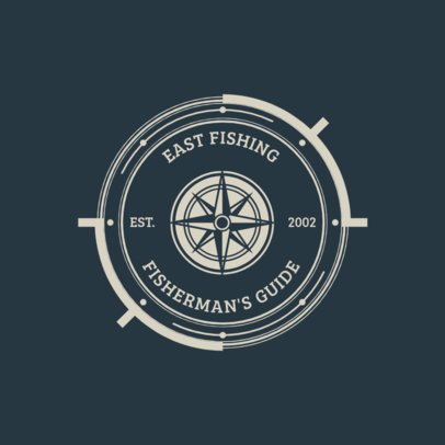 Fishing Team Logo Design Maker with a Compass Graphic 1796c