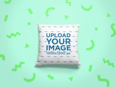 Pillow Mockup with a Colored Background and Cutout Paper Figures 24967