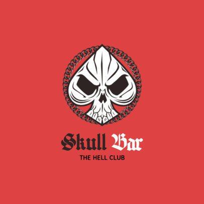 Biker Bar Logo Generator with Skull Ace Clipart 1764c
