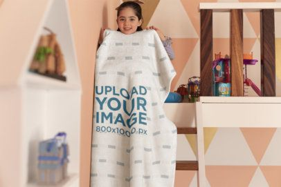 Blanket Mockup Featuring a Playful Girl in Her Room 24691