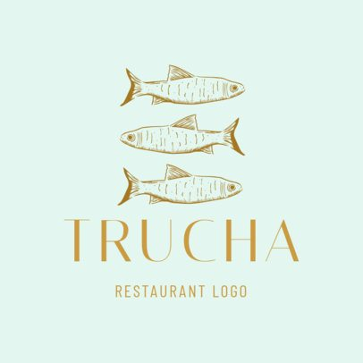 Seafood Logo Template With Trout Graphics 1797d