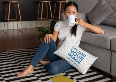 Pillow Mockup Featuring a Girl Drinking Coffee at Home 25913