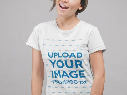 Round Neck Tee Mockup of a Cropped Face Girl Smiling 22337