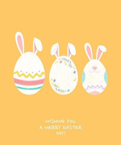T-Shirt Design Template with Cute Easter Egg Graphics 1040 f