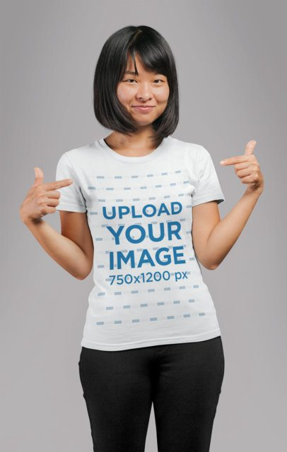 Mockup of a Bob Haircut Woman Pointing at Her Own T-Shirt 21725