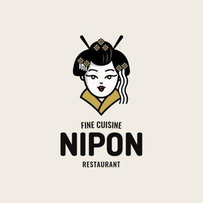Japanese Food Logo Maker with a Geisha Cartoon 1819a