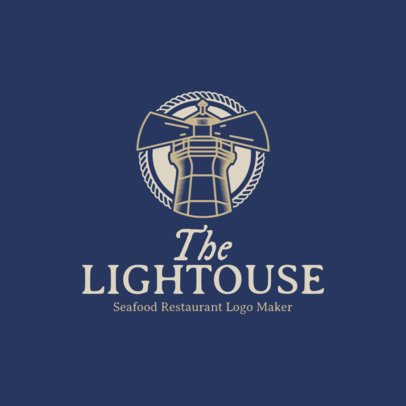 Seafood Restaurant Logo Maker with Lighthouse Clipart 1801d