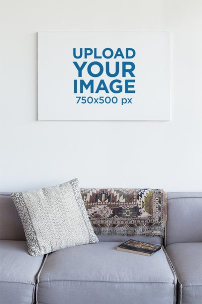 Horizontal Canvas Print Mockup in a Comfy Living Room 25854