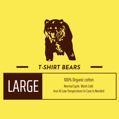 Tee Label Design Template with Bear Clipart 1147c