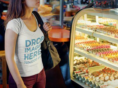 Clothing Mockup of Woman at a Bakery 5691a