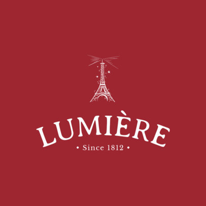 French Restaurant Logo Maker Featuring the Eiffel Tower 1807c
