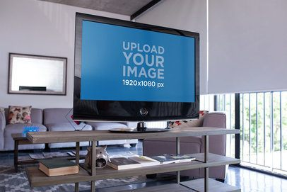 Mockup of a Smart TV in a Cool Living Room 25847