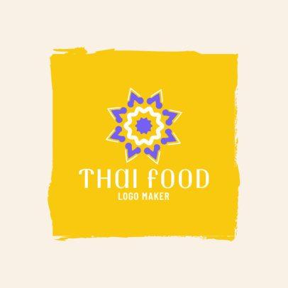 Thai Restaurant Logo Maker with a Minimalist Flower 1839