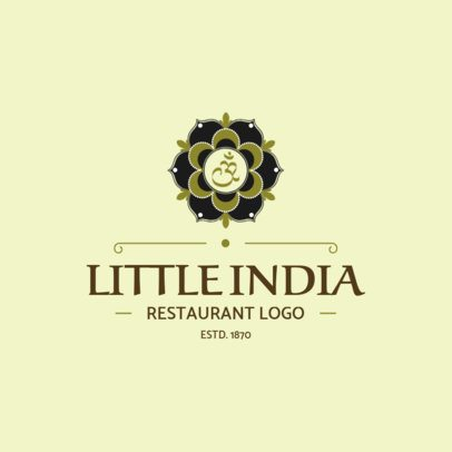 Restaurant Logo Maker with Monochromatic Indian Clipart 1830