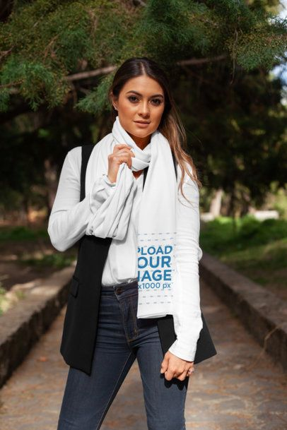 Scarf Mockup of a Stylish Woman Standing by a Park 25680