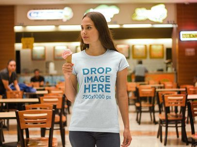 T-Shirt Mockup of a Woman Enjoying an Ice Cream a7993