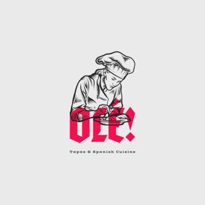 Spanish Cuisine Restaurant Logo Maker with Chef Clipart 1916