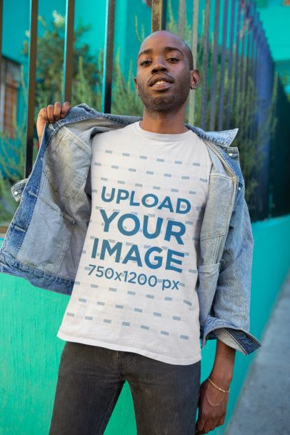 Mockup of a Bearded Man Revealing the T-Shirt Underneath His Denim Jacket 26325