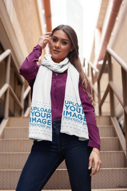 Scarf Mockup of a Pretty Woman Posing on an Urban Stairway 25686