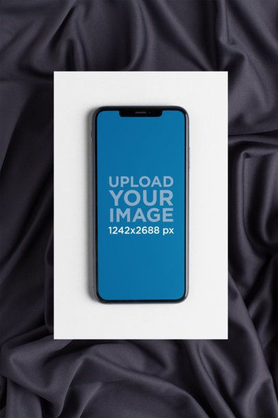 iPhone XS Max Mockup Featuring a Silky Background 25970