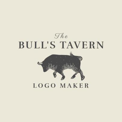 Spanish Restaurant Logo Maker with Bull Clipart 1918a
