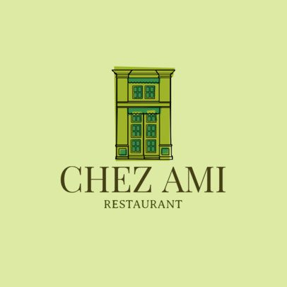 French Food Restaurant Logo Maker with Building Clipart 1811c