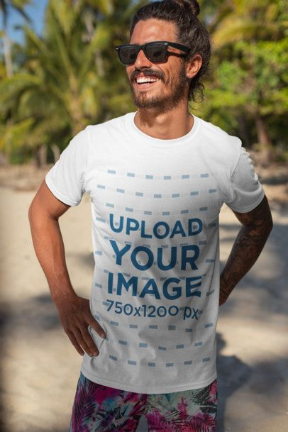 T-Shirt Mockup of a Smiling Man with Sunglasses by the Beach 26752