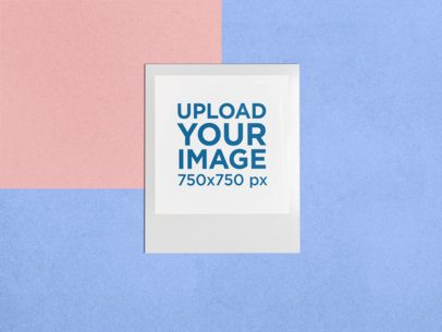 Mockup of a Polaroid Frame over a Colorful Background 26308