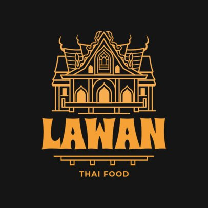 Logo Template for a Thai Food Restaurant with Classic Architecture Illustration 1845c