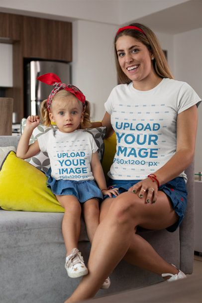 Tee Mockup of a Mommy and Her Little Daughter in Twinning Outfits at Home 26494