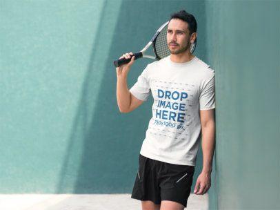 Young Man Playing Tennis T-Shirt Mockup a8031