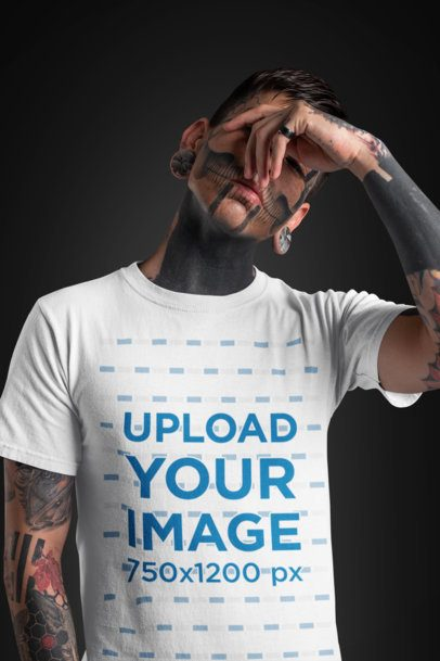 T-Shirt Mockup of a Goth Man Covering His Face 26594
