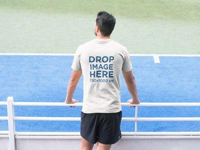 Man Watching a Tennis Match T-Shirt Mockup a8033