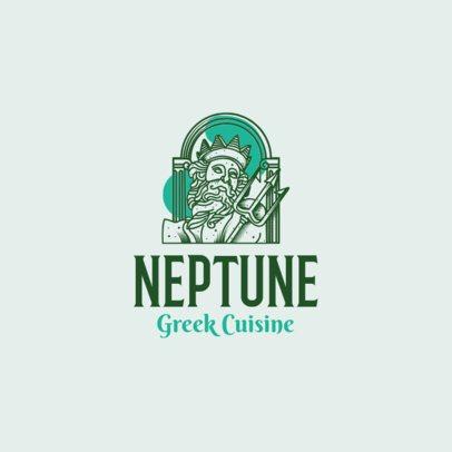 Elegant Greek Cuisine Logo Maker with an Ancient Statue Clipart 1929c