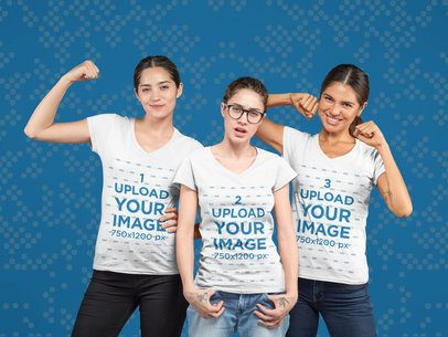 Tee Mockup Featuring Three Cool Gamer Women 25945