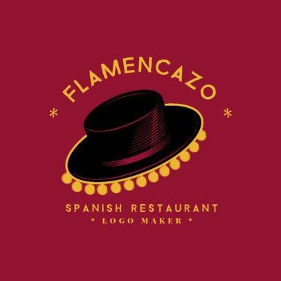 Spanish Cuisine Logo Maker with a Flamenco Hat Clipart 1925e